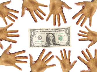 Many hands reaching for the same dollar